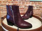 Marc Fisher Burgundy Red Leather Blur Zipper Detail Ankle Boots NEW