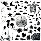 """Sea Life Low Fire Fusing Decal Sheet 4x4"""" Black or White Enamel Decals Assorted"""