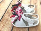 Spring Squeaky Shoes New Add a Bow White Sandal Girls Toddler Your choice bow
