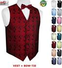 Men's Paisley Formal Tuxedo Vest and Bow-Tie. Wedding, Prom, Cruise, Dress