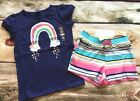 Gymboree Mix N Match Outlet Rainbow Clouds Blue Top Ruffle Striped Shorts NWT
