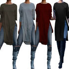 ZANZEA Women S-5XL Asymmetrical Loose Blouse Shirt High Split Casual Tops Tee