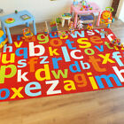 Superb Kids / Childs Rug Red Multi Coloured Large Alphabet Educational 2 Sizes