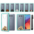 For LG G6 H870 G6+ Plus US997 Dog Skin Clear TPU Teal Bumper Case Cover + Pen