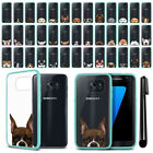 For Samsung Galaxy S7 Edge G935 Dog Design Clear Teal Bumper Case Cover + Pen