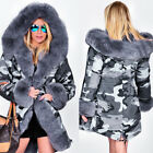 Womens Army Parka Coat Winter Warm Lined Fur Jacket Style Hood Parker TY