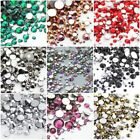 Colorful Nail Rhinestones 3D Nail Art Decoration Flat Bottom  AB Color