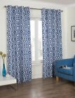 Blue Diamond Box Style Ready Made Curtains Eyelet Ring Top Sizes Modern