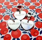 DIABETIC HEART CHARM 925 STERLING SILVER Dangle, clip on or jump ring