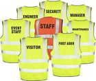 Printed High Visibility Waistcoats/Safety Vest  SECURITY, FIRST AIDER etc S-XXXL