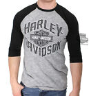 Harley-Davidson Mens Wise Biker B&S Raglan Hyper Slub Grey 3/4 Sleeve T-Shirt $19.99 USD