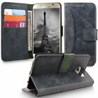 For Samsung Galaxy S6 Real Genuine Leather Wallet Phone Folio Card Case Cover