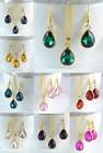 SMALL TEAR DROP GOLD TONE FACETED ACRYLIC CRYSTAL NECKLACE & EARRING SET