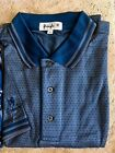 New NWT Pringle M, L Blue Pattern Polo Style Golf Shirt with Pringle Sleeve Logo