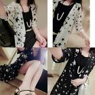 Fashion Women's  Floral Printed  Big Stars Chiffon Blouses Half Sleeve Sunscreen