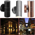 Stainless Steel Up Down GU10 IP44 Wall Light Double Outdoor Garden Patio Lights