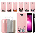 For LG X Power 2 LV7 M320 M322 Cat Design Sparkling Light Pink Case Cover + Pen
