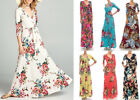 S-3X JANETTE Wrap Maxi Dress Floral Print Full Length Long Boho Casual Career