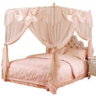 Upscale mosquito net bed canopy curtain valance stainless steel frame queen king image