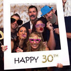 16/18/30/40/50/60/70th Frame Photo Booth Props for Happy Birthday Paper Party TY