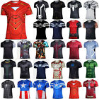 Marvel Superhero Men Short Sleeve T-Shirts Sport Tops Gym Compression Base Layer image