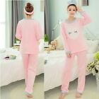 New Womens Pajamas Sets Thick Warm Coral Velvet Suit Flannel Long Sleeve Sets