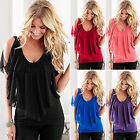party blouses for women - Women's V Neck Cold Shoulder Blouse Tee Shirt Summer Chiffon Casual T-shirt Tops