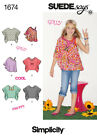 Sew & Make Simplicity 1674 SEWING PATTERN - Girls Retro HIPPIE PONCHO TOPS 8-16