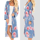 Women Beach Holiday Printing Long Shirt Floral Plus Size Long Cardigans Oversize