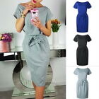Womens Crewneck Pockets Short Sleeve Pencil Tunic Dress Casual Solid With Strap