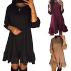 New Womens' Round Neck Falbala 3/4 Sleeve Party A-Line Loose Solid Casual Dress