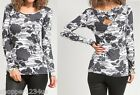 Gray Floral Jersey Twist Open Back Strap Long Sleeve Blouse Top