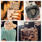 Luxury Crystal Bling Case Soft  Warm Fluffy Rabbit Fur Diamond Cover For Phones