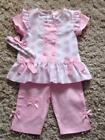 BABY GIRLS 3 PIECE PINK WHITE POLKA DOT DRESS TROUSERS HEADBAND SET 0-3 3-6 6-9