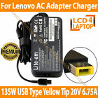 135W Lenovo 20V 6.75A USB Type Yellow Tip Compatible Laptop AC Adapter Charger