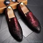 Men Sequin Pointy Toe Leather Korean Slip On Nightclub Loafer Formal Party Shoes