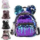 Fashion Women Girl Sequin Backpack Leisure School Travel Pack Stylish Ear Design