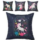 Personality Home Decoration Unicorn Printed Square Black Linen Throw Pillow Case
