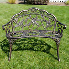 "New 39""-inch Antique Style Patio Porch Garden Bench Aluminum Outdoor Chair Rose"