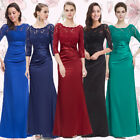 Ever Pretty UK 3/4 Sleeve Lace Formal Evening Gown Long Bridesmaid Dresses 09882