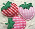 "60pc x 1"" Padded Gingham Cotton Strawberry w/Satin Leave Appliques for Bow ST444"