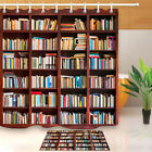 Library Books Background Bathroom Shower Curtain 12 Hooks Sets Fabric Waterproof