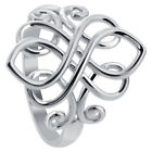 925 Sterling Silver Rhodium Plated Unique Celtic Ring Size 3 - 10 image