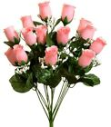 14 Roses Buds Silk Flowers Wedding Bouquets Centerpiece Fake Faux Artificial