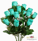14 Roses Buds ~ MANY COLORS ~ Silk Flowers Bridal Bouquets Wedding Centerpieces