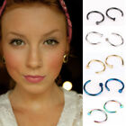 8PCS Steel Open Nose Ring Clip Hoop Cartilage Piercing Stud C-Type Faux Ring US