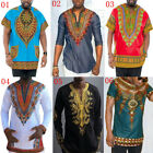Mens Afican Dashiki Ethnic Chief Floral Print Festival Hippe Gypsy T Shirts Tops