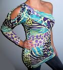 New Womens Colorful  ANIMAL PRINT Dress ONE SHOULDER Top TUNIC Choose S M L