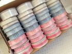 BABY Mini Ribbon Reels 9 to 27mm - Pink Blue Gingham Lace -var designs & colours