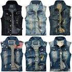 New Men's Denim Vest Jean Jacket Waistcoat Sleeveless Vintage Slim Casual Jacket